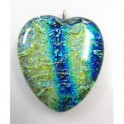 Iridescent Glass pendant on Sterling Silver Necklace