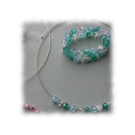 Children's Glass beaded necklace and bracelet set - aqua