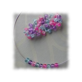 Children's Glass beaded necklace and bracelet set - pink